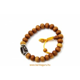 Szantálfa csukló mala dzi kő osztóval - a kiegyensúlyozott nyugalom és a tiszta inspiráció fája