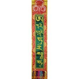 Selyem Zöld Tara mantra fali függő