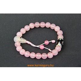 Rózsakvarc csuklómala, dzi kő osztóval, gumis - a gyengéd nőiesség és érzékenység köve