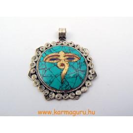 Türkíz medál Om, Kalacsakra, dupla dordzse és végtelen szimbólum