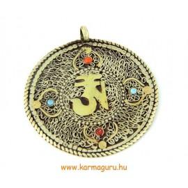 Vékony 2 oldalú medál Om-mal, Kalacsakrával, mandalával