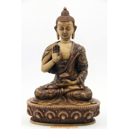 Áldó Buddha csont  színű rezin szobor
