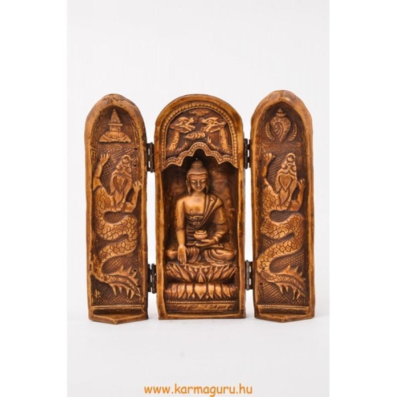 Buddha nyitható oltár csont színű rezin szobor