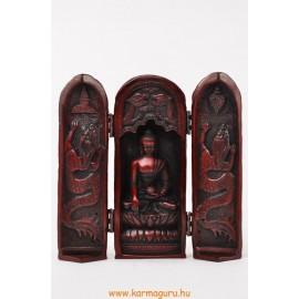 Buddha nyitható oltár vörös színű rezin szobor