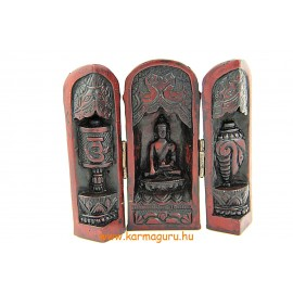 Nyitható Buddha oltár vörös színű