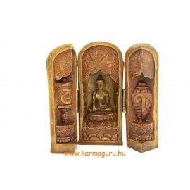 Nyitható Buddha oltár csont színű