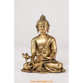 Gyógyító Buddha szobor réz, alj nélkül, matt sárga - 16 cm