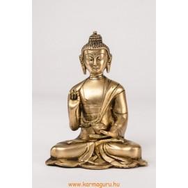 Áldó Buddha szobor réz, alj nélkül, matt sárga - 16 cm