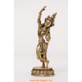Táncoló Tara szobor réz, matt sárga
