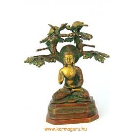 Buddha a bódhi fa alatt szobor réz, bronz színű