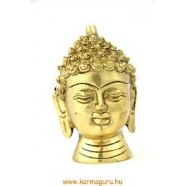 Buddha fej szobor réz, sárga