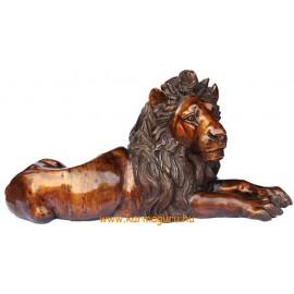 Fekvő oroszlán réz szobor - óriási