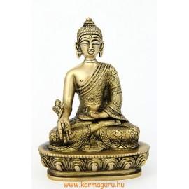 Gyógyító Buddha szobor réz, matt sárga - 14 cm