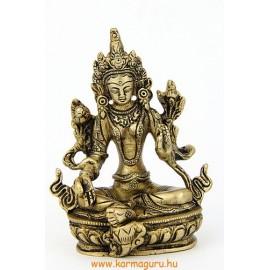 Zöld Tara szobor réz, matt sárga - 14 cm
