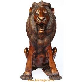 Ülő oroszlán réz szobor - óriási